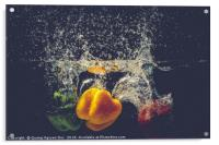 Green Yellow Red bell peppers drop into the water , Acrylic Print