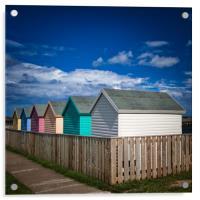 Colourful Beach Huts at Amble in Northumberland, Acrylic Print