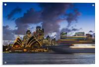 Ship on Sydney harbour at dusk, Acrylic Print