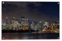 Sydney city skyline at night, Acrylic Print