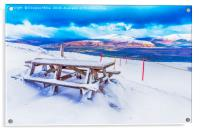 Bench in the Snow, Acrylic Print