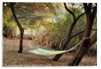 Hammock in trees on river bank, Acrylic Print