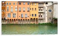 Ancient houses overlooking the Arno river , Acrylic Print