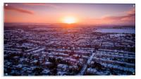 Sunrise over a snowy suburb, Acrylic Print