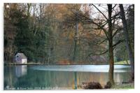 The Lake at Colesbourne Park, Gloucestershire, Acrylic Print