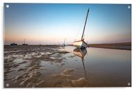 Boats in Meols during sunset, Acrylic Print
