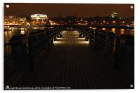 Pier on The Thames at Night, Acrylic Print