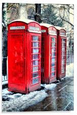 Three Red Telephone Boxes, Acrylic Print