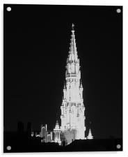 Brussels - Gothic tower town hall , Acrylic Print