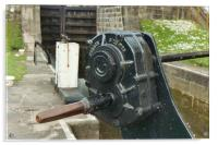 Detail of a canal lock paddle, Acrylic Print