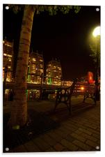 Tree At Salford Quays By Night, Acrylic Print