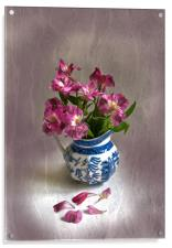Pink Flowers and Blue Jug, Acrylic Print