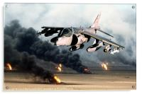 Low-level Harrier over burning oil wells, Acrylic Print