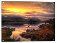 Golden Sunrise Over Loch Ba, Acrylic Print