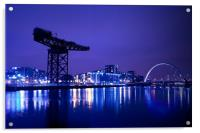 The River Clyde At Night., Acrylic Print