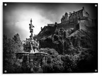 The Ross Fountain, Edinburgh in B&w., Acrylic Print