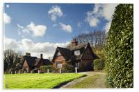 Thatched cottages on Woodbastwick  Village Green, Acrylic Print