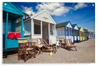 Deck chairs and beach huts, Acrylic Print