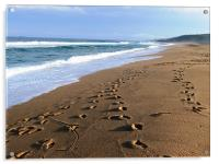 footsteps on a Durban beach, Acrylic Print