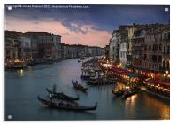 View from Rialto Bridge, Venice, Acrylic Print