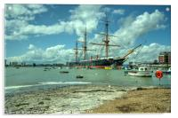 HMS Warrior at Portsmouth Harbour , Acrylic Print