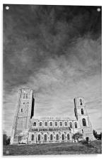 Wymondham Abbey Mono with Big Sky, Acrylic Print