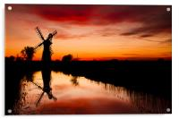 Spring Sunset at Thurne Mill, Acrylic Print