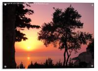 Greek Sunset Silhouette, Acrylic Print