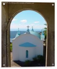 Greek Church through the Arch, Acrylic Print