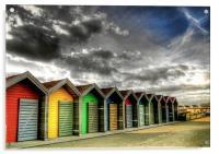 Beach Huts in Colour, Acrylic Print
