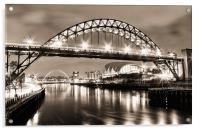 The Bright Lights of Newcastle Upon Tyne, Acrylic Print
