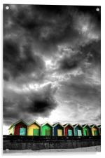 Stormy Beach Huts, Acrylic Print