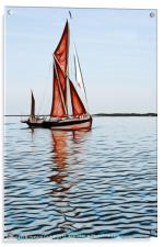 Thames barge reflection 2, Acrylic Print