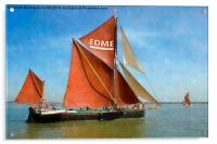 Thames Barge Edme watercolour effect, Acrylic Print