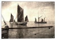 Maldon Barge Match 2010 vintage effect, Acrylic Print