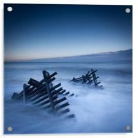 Caistor beach defences, Acrylic Print