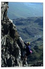 Scrambling on Crib Goch, Acrylic Print
