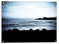 St Davids sunset, b&w, Acrylic Print