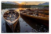 Derwent water rowing boats, Acrylic Print