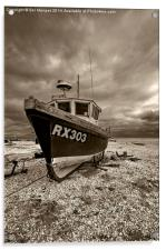 Dungeness Boat under Cloudy Skies, Acrylic Print