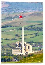 Paragliding at Castleton, Acrylic Print