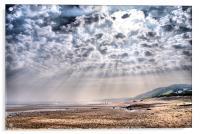 Heavenly Rays at Sandsend Beach, Acrylic Print