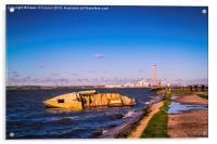 Riverside Wreck at High Tide, Acrylic Print
