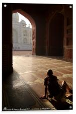 Tourist Photographing Taj Mahal, Acrylic Print
