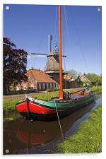 Ship and Windmill, Acrylic Print