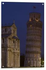 Leaning tower and dome @ night, Acrylic Print