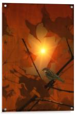 SPARROW IN THE LEAVES, Acrylic Print