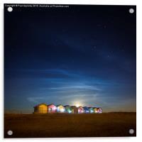 Blyth Beach Huts at Moon Rise, Acrylic Print