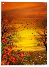 Orange Meadow, Acrylic Print