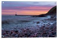 Aberdeen South breakwater light at dawn, Acrylic Print